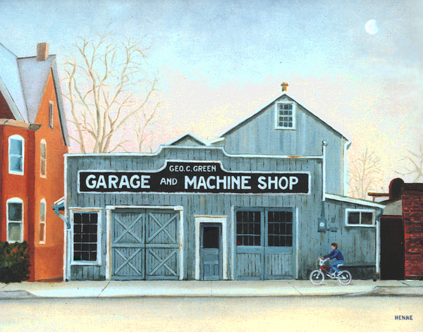 Machine Shop Painting - Old Machine Shop by Robert Henne