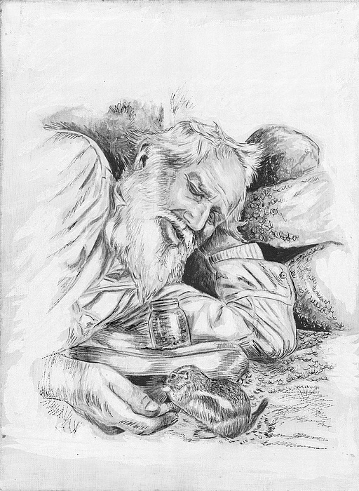 Pen And Ink Painting - Old Man Feeding Chipmunk by Samuel Showman