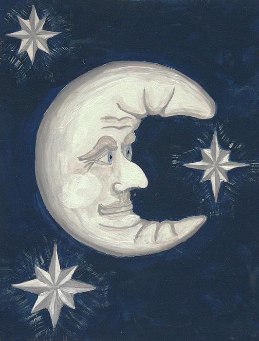 Moon Stars Painting - Old Man Moon by Gordon Wendling