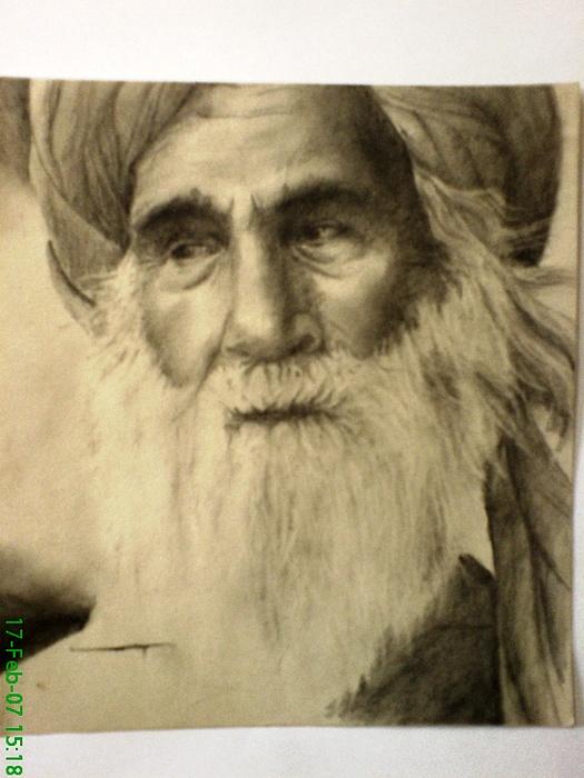 Pencil Drawing - Old Man by Vishal Mane