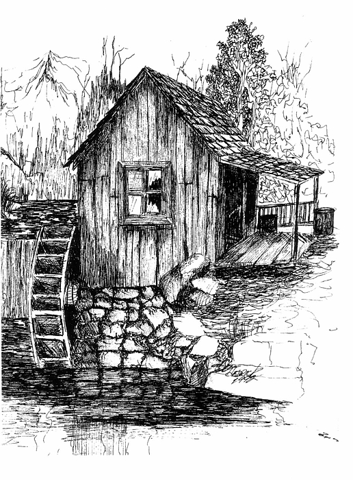 Old Mill Drawing By Barney Hedrick