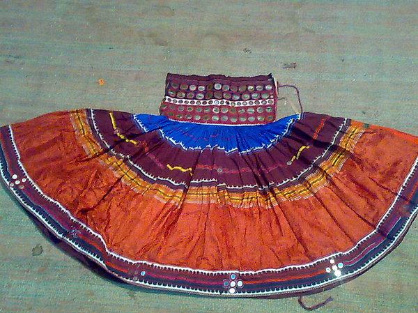 Ethnic Skirt Tapestry - Textile - Old Mirror Work Skirt by Dinesh Rathi