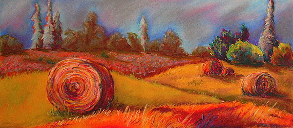 Landscape Painting - Old Mission Hayrolls I by Tracey Flanigan