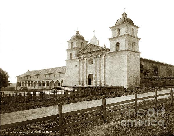 Old Mission Photograph - Old Mission Santa Barbara, Cal Circa 1895 by California Views Mr Pat Hathaway Archives