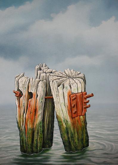 Seascape Painting - Old Moorings by Uko Post