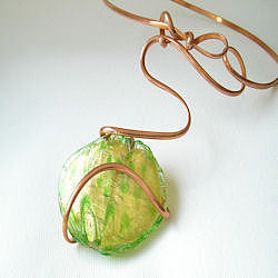 Copper Jewelry - Old Murano Glass With Copper Wire by Gisela Naepflin