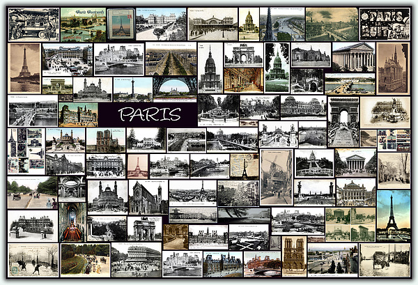 France Pyrography - Old Paris Collage by Janos Kovac