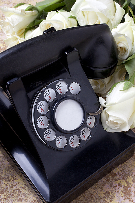 Old Photograph - Old Phone And White Roses by Garry Gay