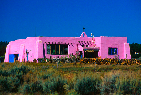 Adobe Photograph - Old Pink Schoolhouse Gallery Tres Piedras Nm by Troy Montemayor