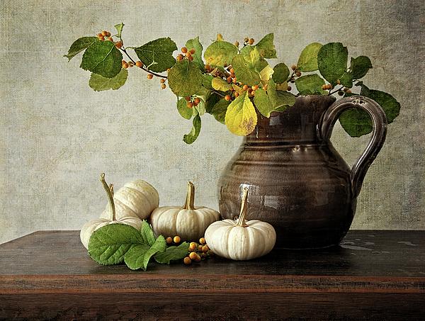 Autumn Photograph - Old Pitcher With Gourds by Sandra Cunningham