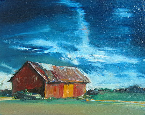 Landscape Painting - Old Red Barn by Drew Davis