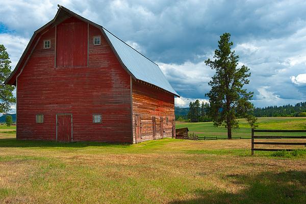 Barn Photograph - Old Red Big Sky Barn  by Sandra Bronstein