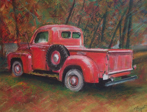 Truck Painting - Old Red by Victoria Heryet