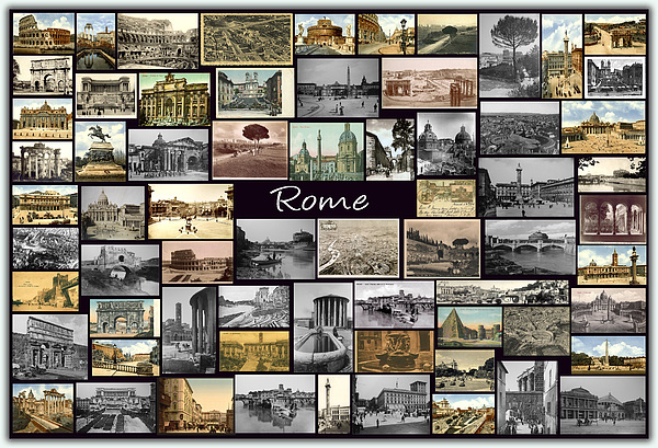 Rome Photograph - Old Rome Collage by Janos Kovac