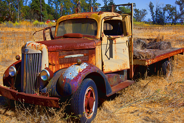 Truck Rusty Transportation Broken Down Photograph - Old Rusting Flatbed Truck by Garry Gay