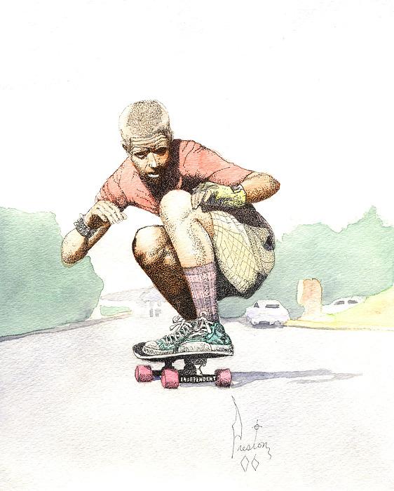 Old School Skater Painting by Preston Shupp