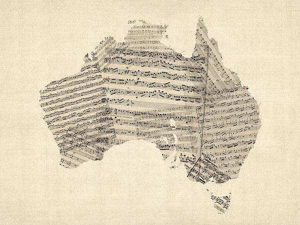 Australia Map Digital Art - Old Sheet Music Map Of Australia Map by Michael Tompsett
