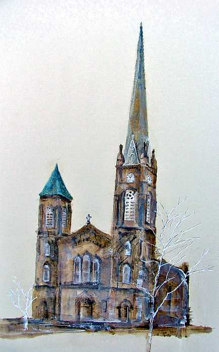 Public Square Painting - Old Stone Church by Paul Jira