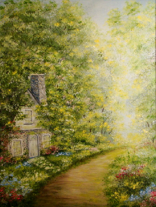Cottage Painting - Old Stone Cottage by Leea Baltes