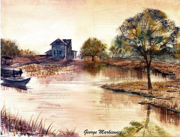 Water Landscape Print - Old Time Mural by George Markiewicz