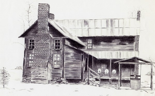 Landscape Drawing - Old Willard Home by Penny Everhart
