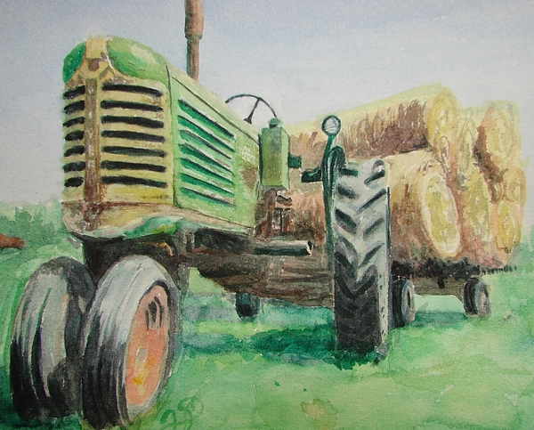 Green Paintings Painting - Olivers Still Working by Patsy Kline