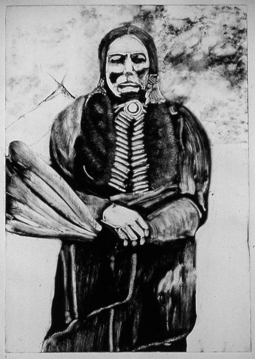 Portrait Drawing - On Kiowa Reservation by Dan RiiS Grife