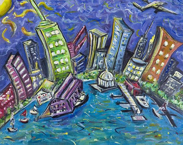 New York City Painting - On The Hudson by Jason Gluskin