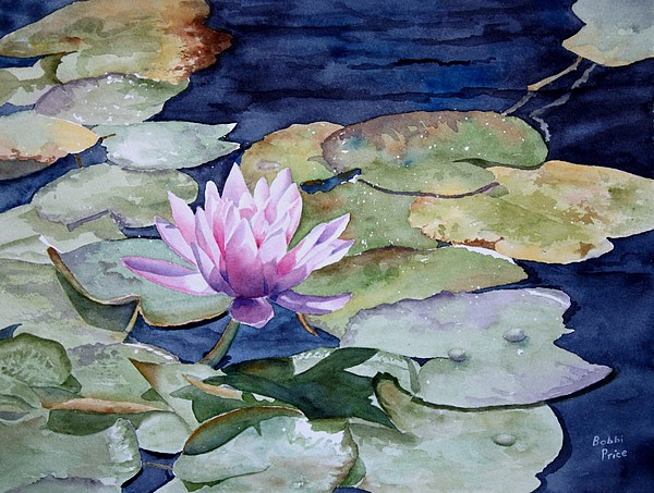 Watercolors Painting - On The Pond by Bobbi Price