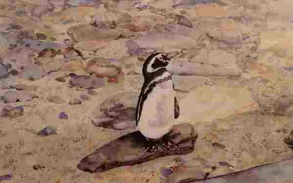 Penguin Painting - On The Rocks by Patricia Brown