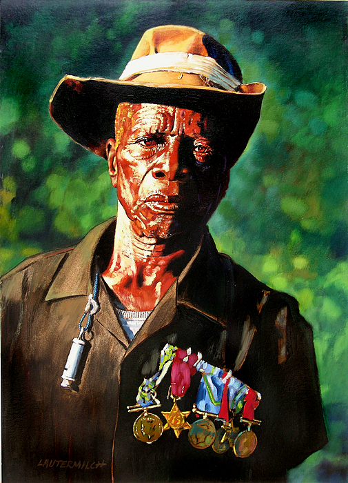 Black Soldier Painting - One Armed Soldier by John Lautermilch