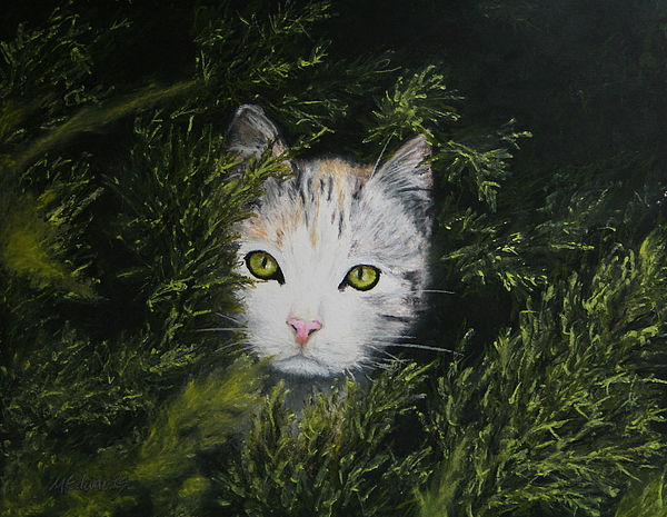 Cat Painting - One In The Bush by Marna Edwards Flavell