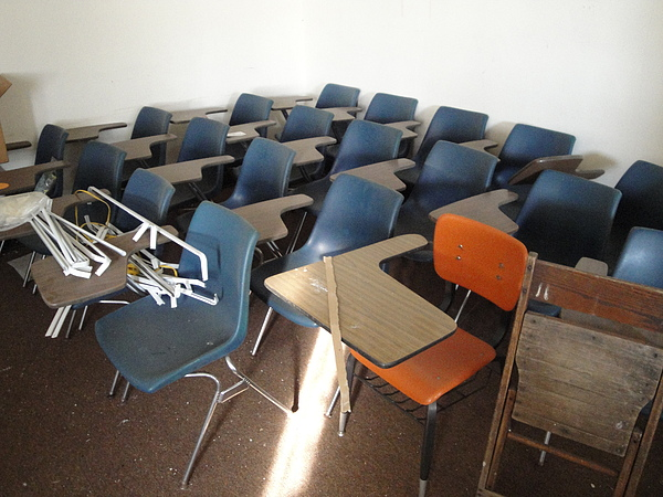 Classroom Photograph - One Orange Desk by Terry  Wiley