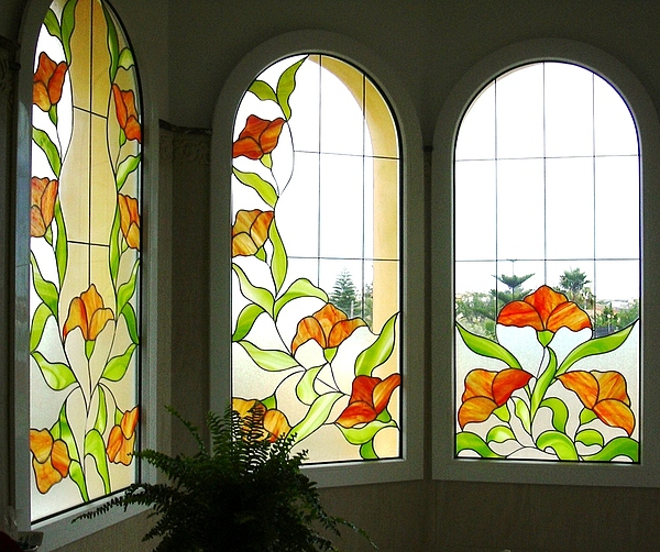 Stained Glass Glass Art - One Part Of The Bathroom by Justyna Pastuszka