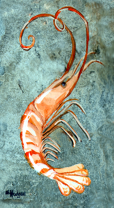 Louisiana Painting - One Shrimp by Elaine Hodges