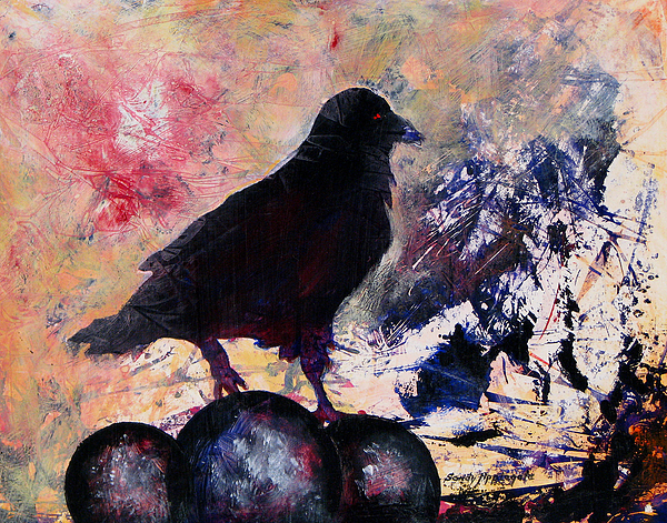 Raven Painting - Only This by Sandy Applegate