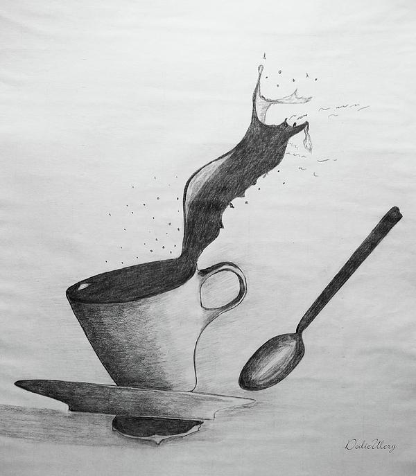 Coffee Drawing - Oops by Dodie Ulery