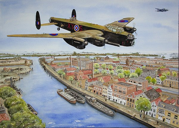 Lancaster Bomber Painting - Operation Manna II by Gale Cochran-Smith