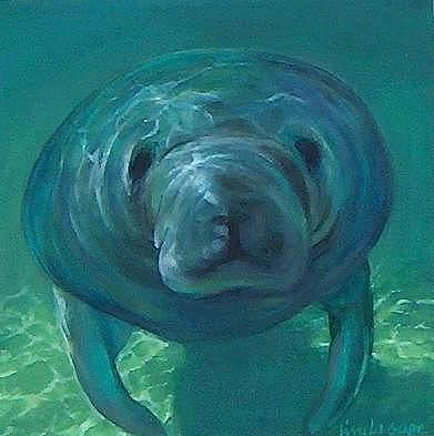 Painting Painting - Opus Manatee by Linda Sage