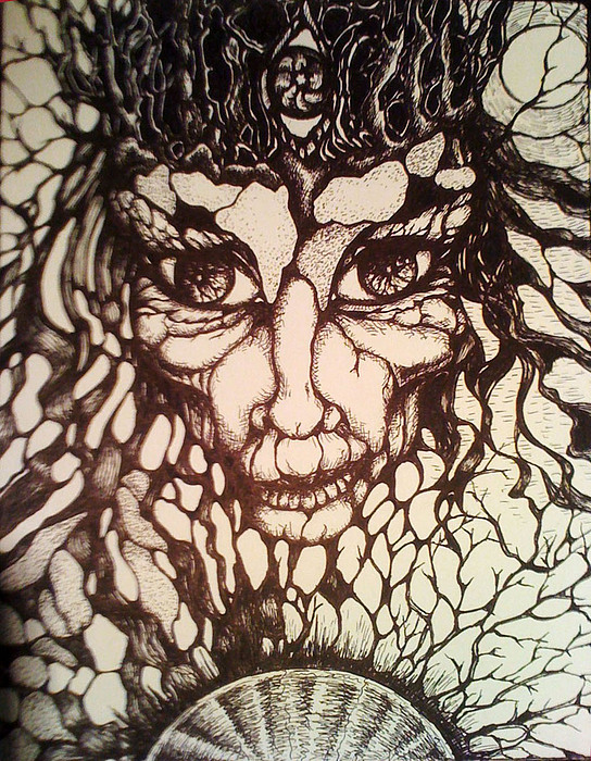 Black And White Drawing - Oracle by Rae Chichilnitsky