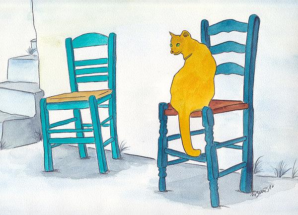 Orange Cat Painting - Orange Cat by Michaela Bautz