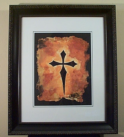 Gothic Mixed Media - Orange Cross by Phillip Carley