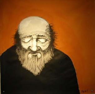 Orange Man 2 4x4 Feet Painting by Meat-Jeffery Paul Gadbois