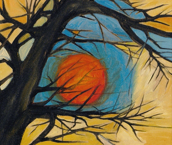 Orange Moon Painting by Leila Atkinson
