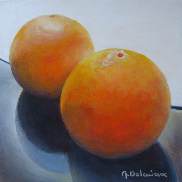 Acrylic Painting - Orange Noir Et Blanc by Muriel Dolemieux