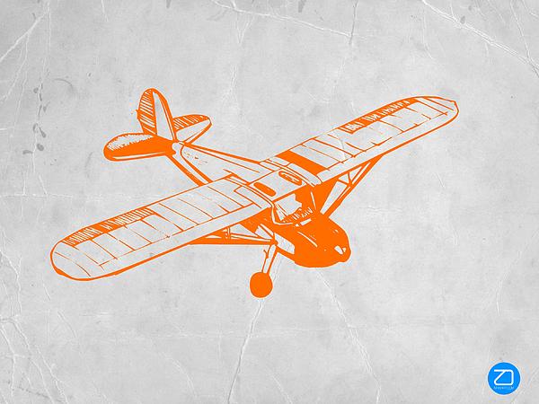 Plane Painting - Orange Plane 2 by Naxart Studio