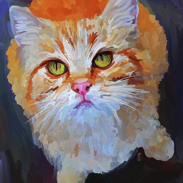 Orange Painting - Orange Tabby Cat - Square by Jai Johnson