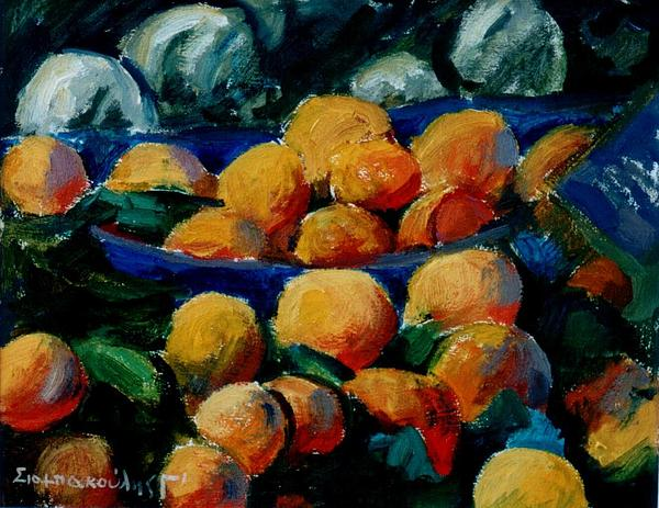 Oranges Painting by George Siaba