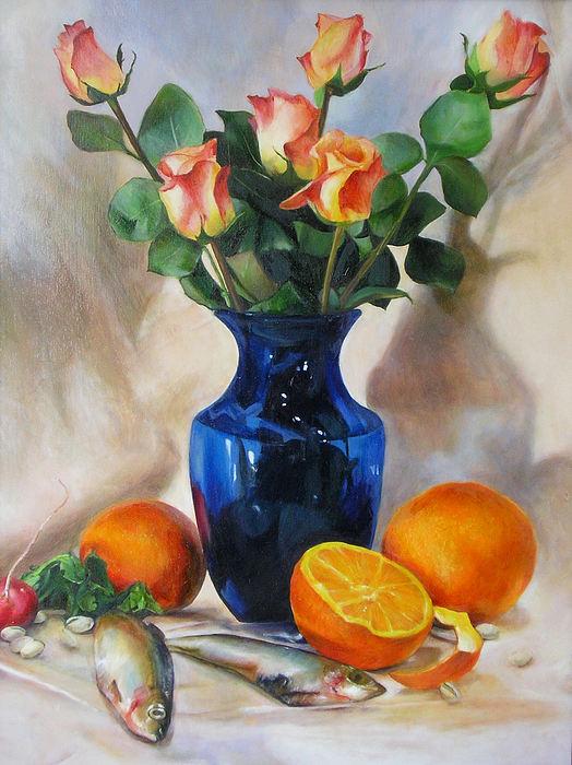 Still Life Painting - Oranges by Sara  Elizabeth Gregory