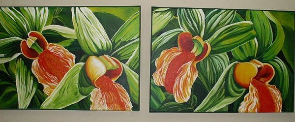 Floral Painting - Orchid Diptych by Sharon Fox-Mould